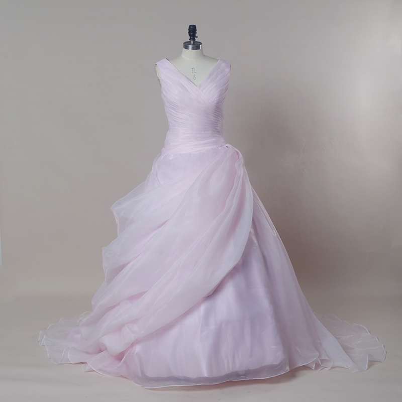 Sexy organza blush pink wedding dress ball gown online for Chinese wedding dresses online