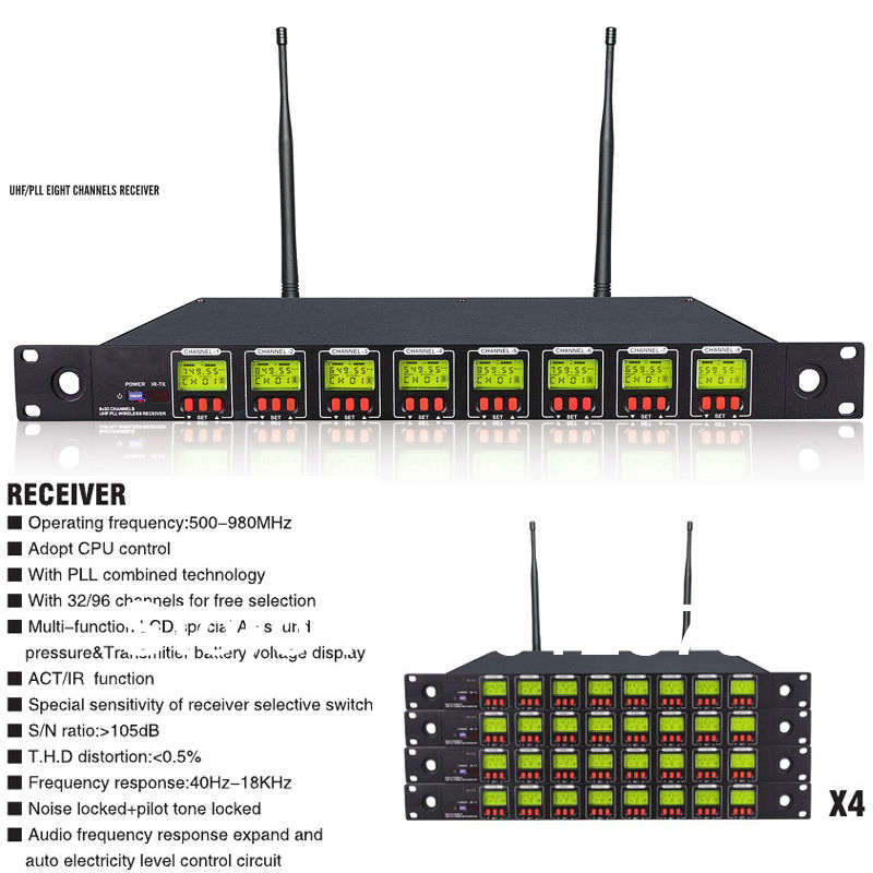 Professional 8 Channel UHF / PLL Stage Wireless Microphone