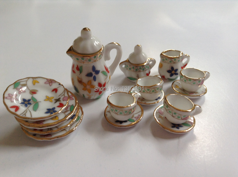 1:12 Cute MINI Dollhouse Miniature kitchen colorful floral china ceramic tea set 15 pcs