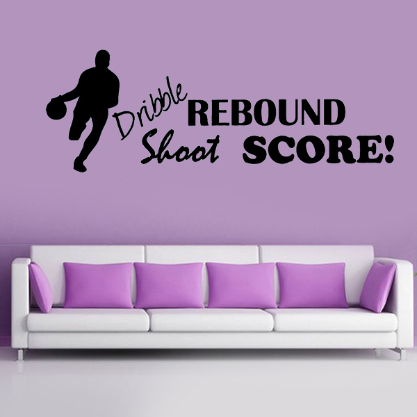 Sports Dribble Shoot Rebound Score Basketball wall stickers Wall Say Quote Word Lettering Vinyl Decal children Home Decor Words(China (Mainland))