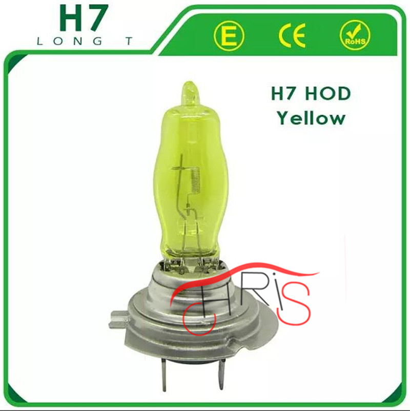 2 x H7 HOD 9003 HB2 P43T 12V 3000K-4300K 100W Golden Yellow Auto Car HOD Halogen Bulbs Lamps Headlight Bulbs Free Shipping(China (Mainland))