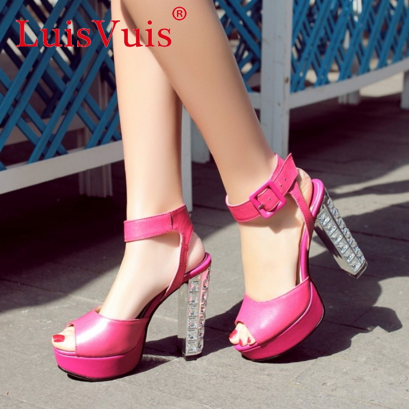 women real genuine leather dress platform peep toe high heel sandals sexy fashion brand heeled ladies shoes size 34-39 R6386<br><br>Aliexpress