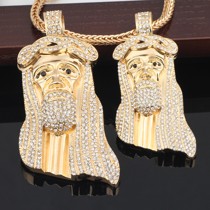 Pendant Jesus Head portrait Hip hop bling necklace 36 franco chain Free shipping(China (Mainland))
