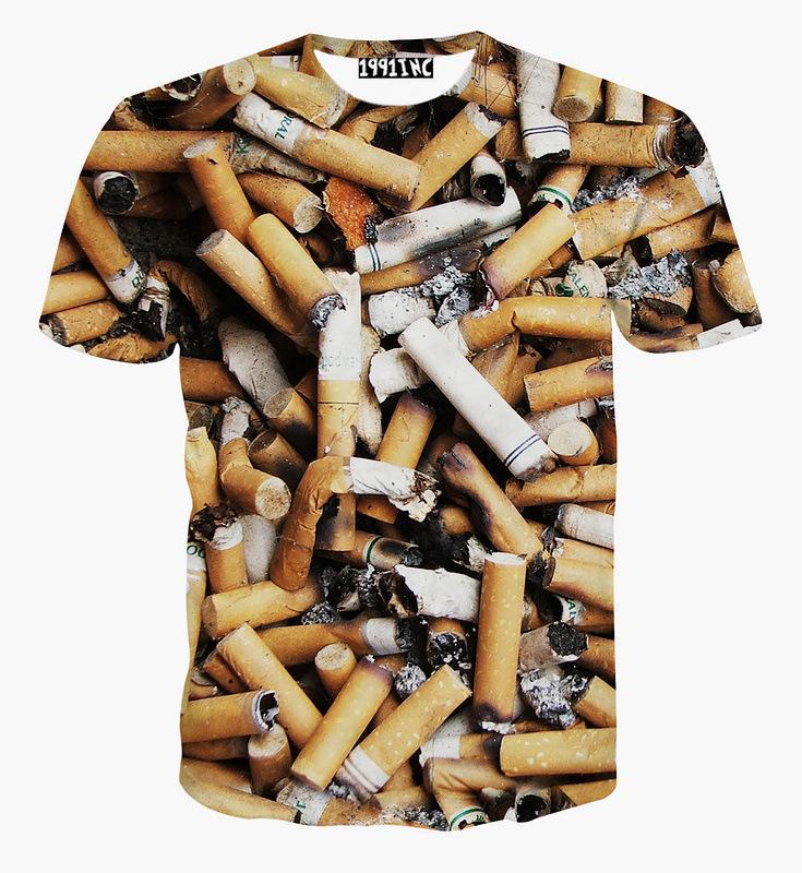Free Shipping Fancy Full Printing Cigarette End Printing T-Shirt Smoking Cigarette Butt Top Tees(China (Mainland))