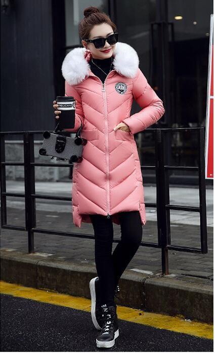 Скидки на Женская мода Зимнее Пальто Теплый Хлопок Вниз Пальто ПУ Кожа меха С Капюшоном Длинный Жакет Для Женщин Зимнее пальто И Пиджаки Парки женский