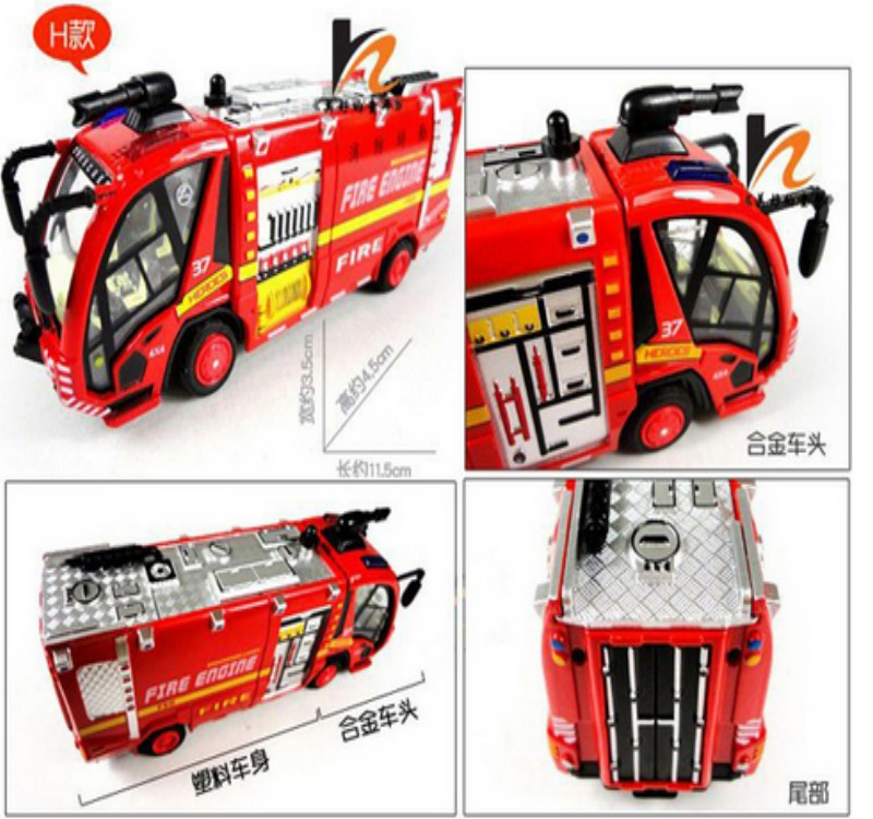 baby toy car model mini Fire truck toy abs with music and light shining pull back kids favorite toy child best gift 8cm(China (Mainland))
