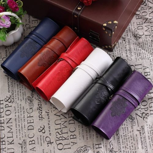 Vintage Retro Roll Leather Make Up Cosmetic Pen Pencil Case Pouch Purse Bag(China (Mainland))