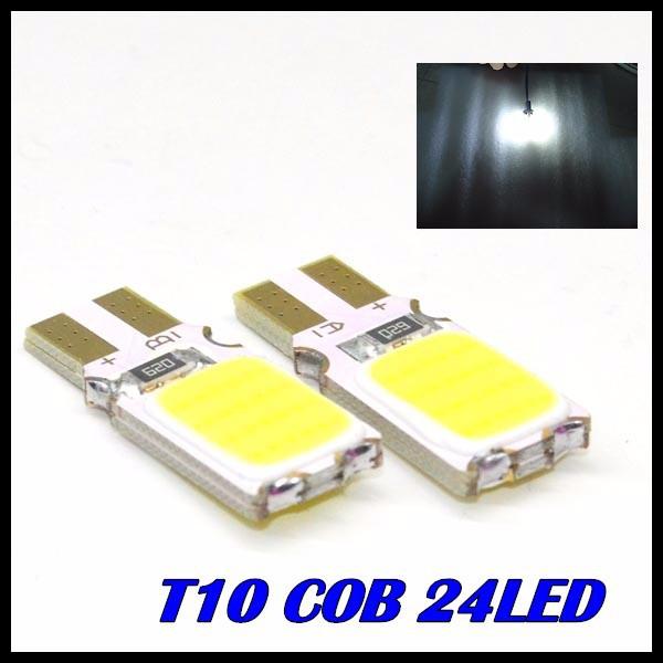 10 x T10 COB LED White Super Bright Car Light Canbus Error Free 194 168 24led W5W Parking Backup Reverse Brake Lamp - Great Lighting Factory store