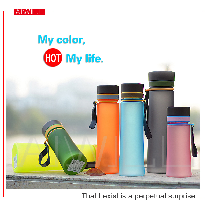 New sports water bottle colorful space cup High quality plastic bottles with rope 400ml / 600ml summer gift free shipping AIWILL(China (Mainland))