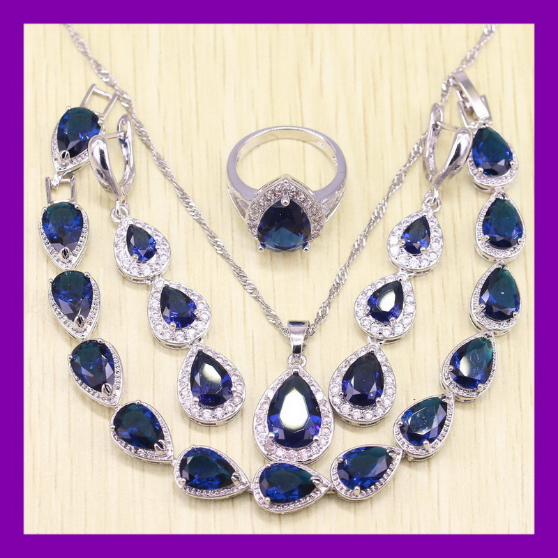 Water Drop Classic Blue Sapphire White Topaz Women Bracelets Jewelry Sets Angelic Sterling Silver Earrings/Ring/Necklace/Pendant(China (Mainland))