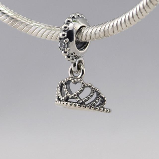 Осень стиль стерлингового серебра 925 сердца тиара CZ мотаться бусины Fit пандора оригинальный подвески браслеты DIY ювелирных украшений