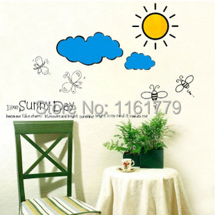 1Set Free Shipping:New Design Home Wall Sticker Decal Removable Sun & Cloud Pattern Decoration Wall Poster(China (Mainland))