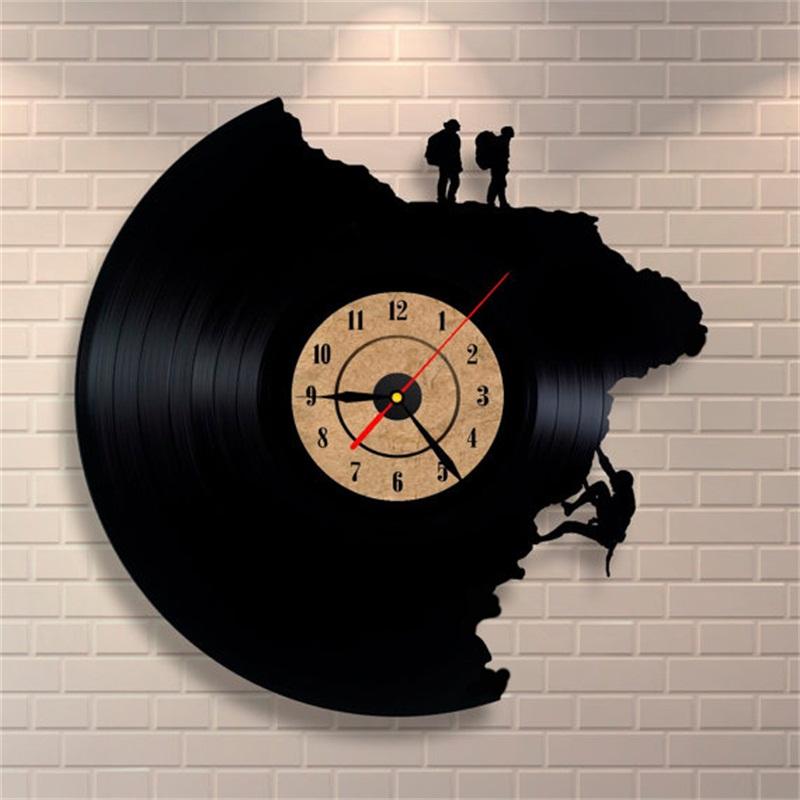 Large Decorative Wall Clocks Vinyl Record Clock Climbing Shape 3D Acrylic Art Watch Antique Style Quartz Clock Mechanism Needle(China (Mainland))