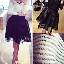 2016 summer autumn new style sexy fashion skirt womens striped hollow-out fluffy skirt swing skirt ladies Black/White Ball Gown(China (Mainland))