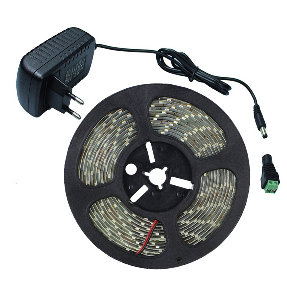 5M 5630SMD 300Leds Led Stripe Light Flexible 5730 Led Tape Ribbon DC12V Waterproof IP65 + 12V 2A Power Adapter + DC Connector(China (Mainland))