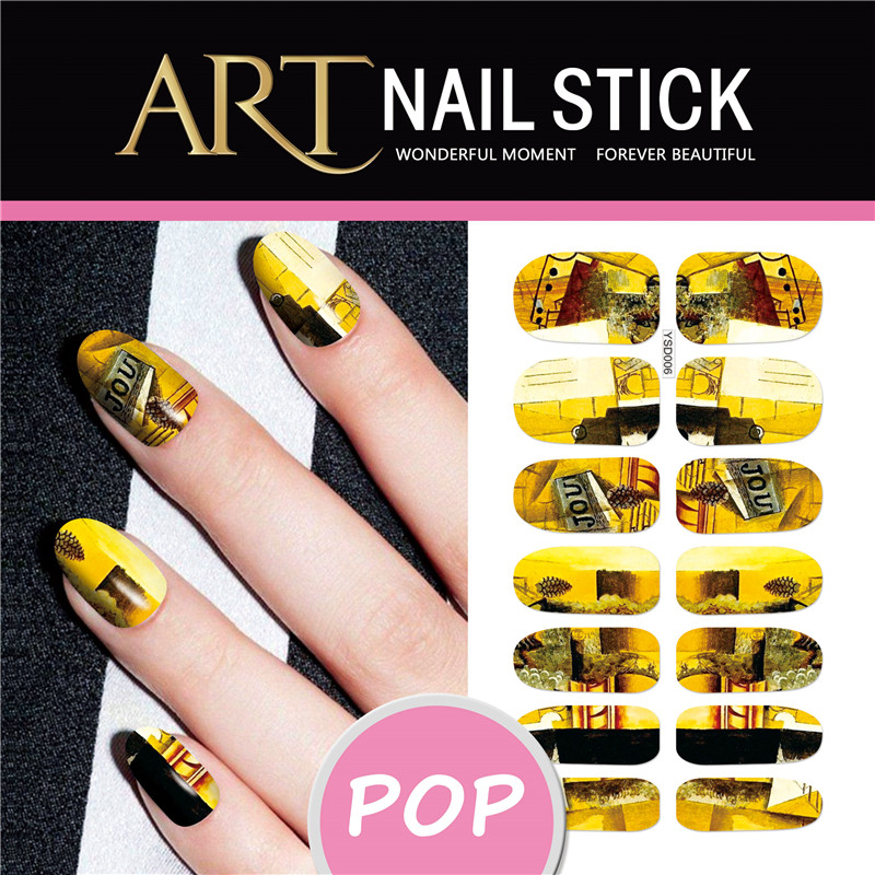 YSD06 Gold Flash Bling Bling Nail Diy Art Tips Decoration Sticker Nails Wraps Styling Glitter Rhinestones Water Transfer Sticker(China (Mainland))