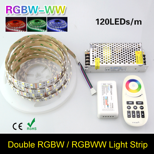 16.4FT Double Row 5050 RGB LED Strip 5M 600 Leds SMD Led Flex Light Ribbon Tape & DC 12V 10A Power & RGB Remote Controller(China (Mainland))