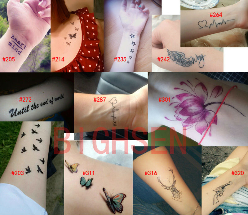 1 pc Waterproof Body Paint Black Tattoo Stickers Adhisive Tattoos Paste Supplies Red Flowers Designs Fake Tatto Arm WTAooo3(China (Mainland))