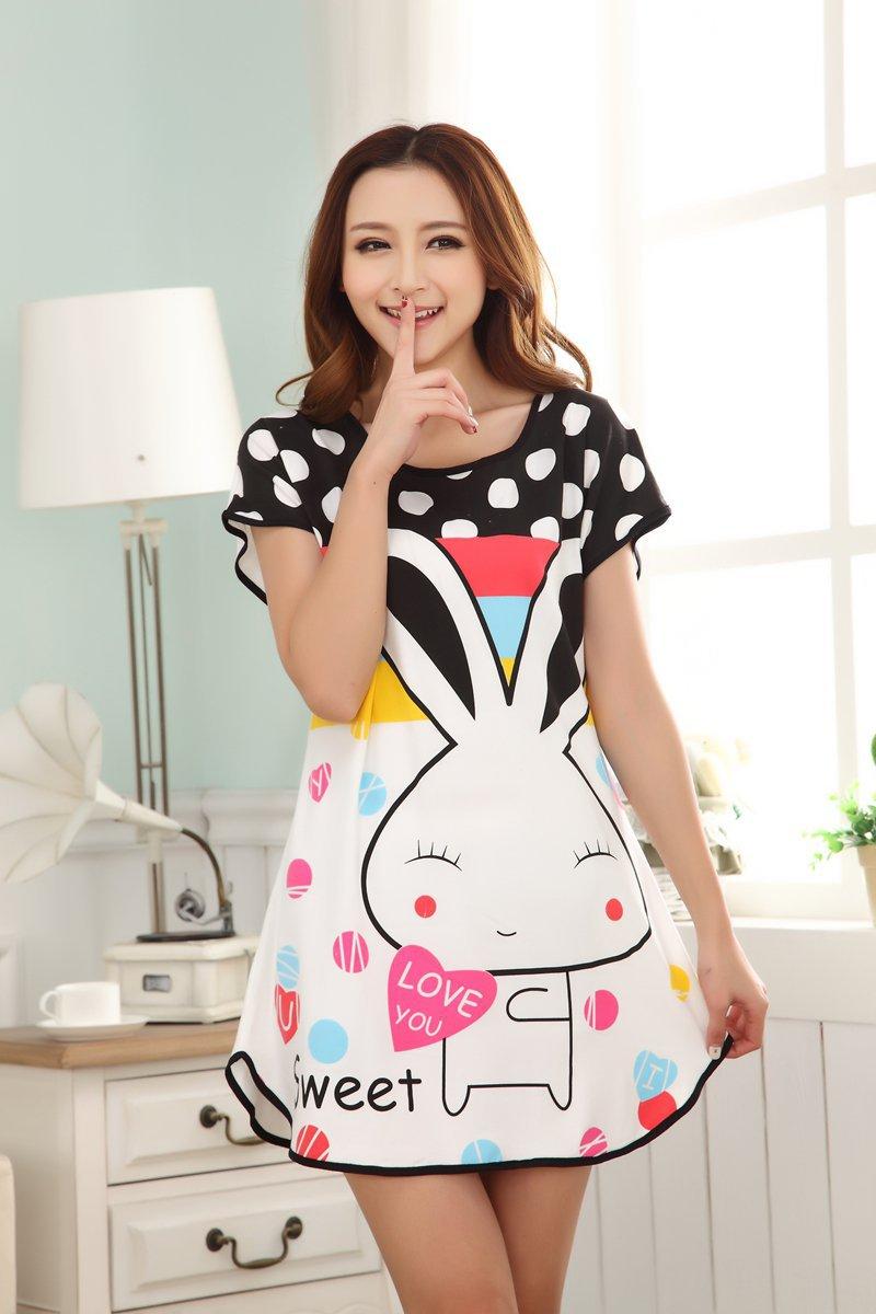 Women Casual Cartoon Nightwear Sleepwear Short Sleeve Cute Sleep Dresses