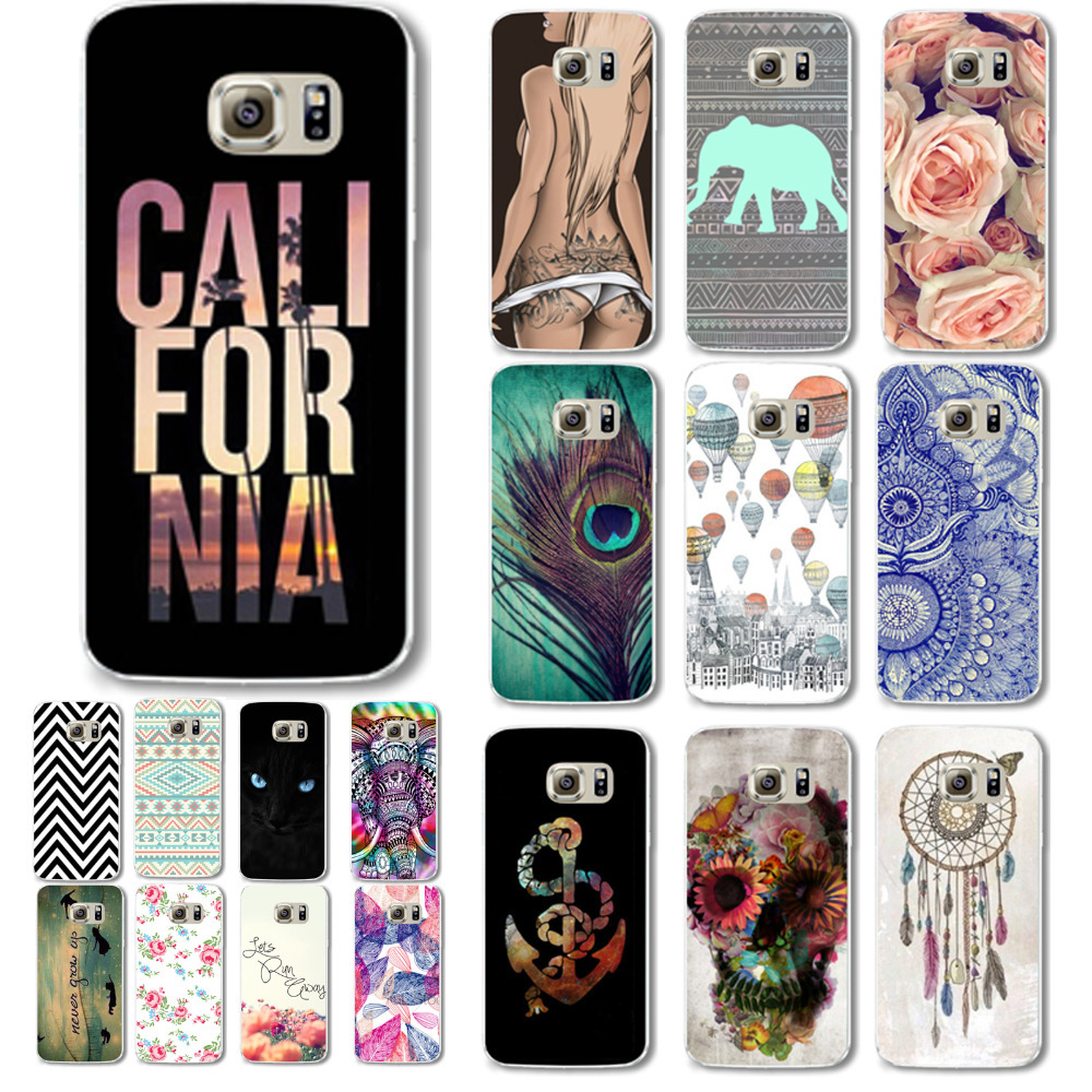 2016 New Arrival Fashion Flower Cartoon Animals Cover for Samsung Galaxy S6 Design Hard Back Cell