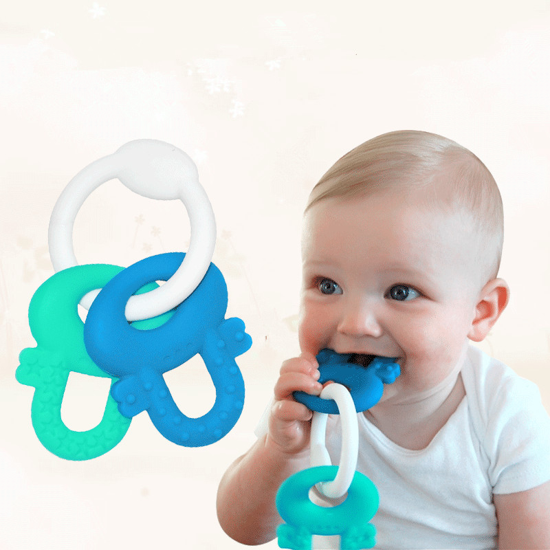 Silicone Baby Teether Cute Toddler Bijtring Safety Kids Training Tooth Toys Massager BPA FREE 1Set Wholesale price(China (Mainland))