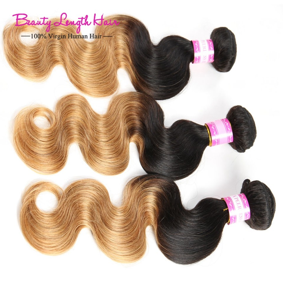 Brazilian Ombre Virgin Hair Weave with Closure 8A Rosa Hair Products 4 Bundles Ombre Human Hair Body Wave 1B/4/27 Brazilian Hair