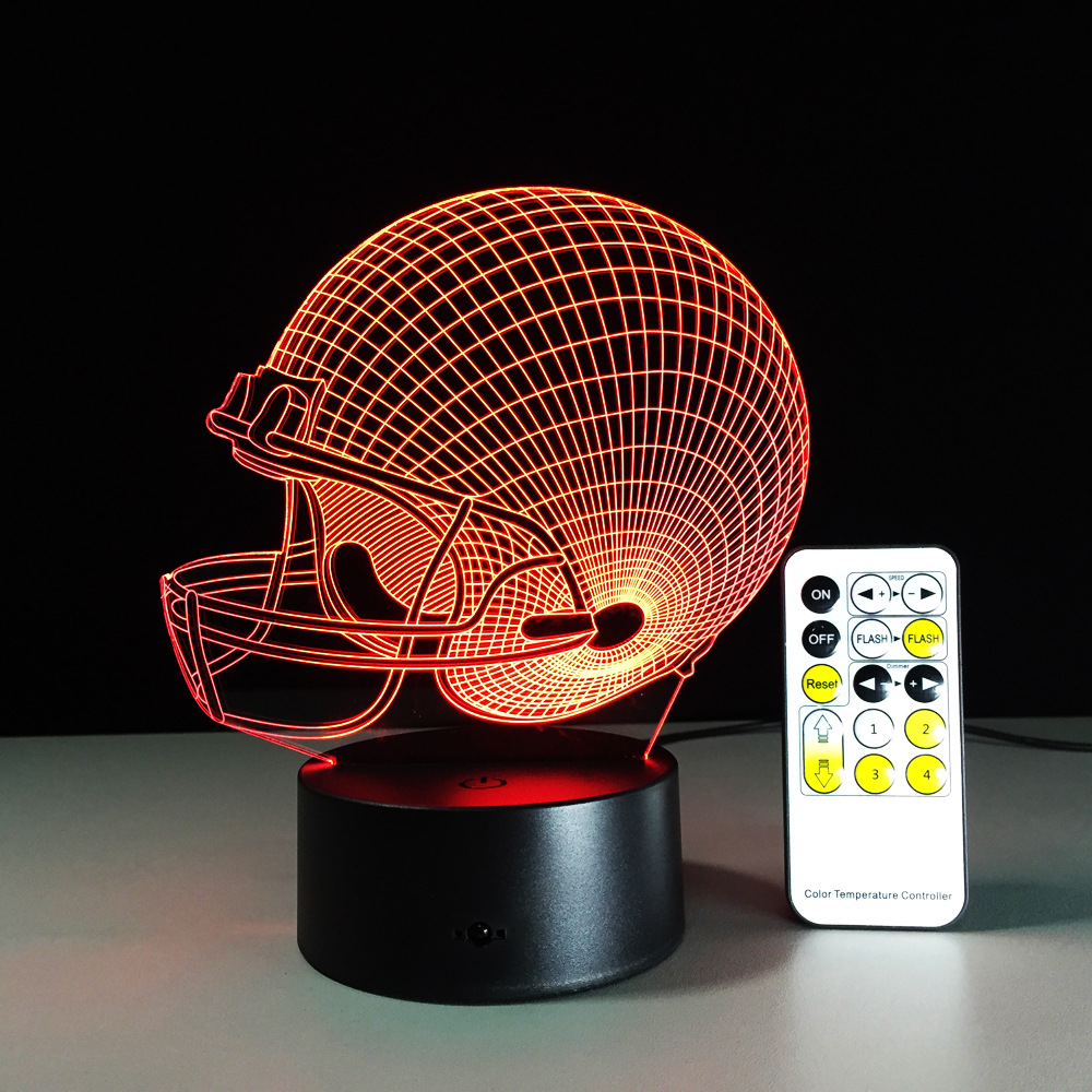2016 New Colorful 3D Decor Bulbing Light LED NFL Football Rugby cap LED Lighting Gadget Color Change Table Lamp for Child Gift(China (Mainland))