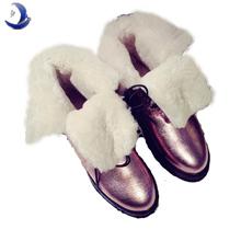 Zapatos mujeres de gran tamaño de Una Europa de piel de Cuero Genuino EE. UU. botas para la nieve de Invierno Ruso Reales de las lanas Calientes Atan para arriba los zapatos bootie(China (Mainland))