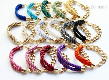 Wholesale mix color Cord and Golden chain Bracelet 24pcs/lot -free shipping