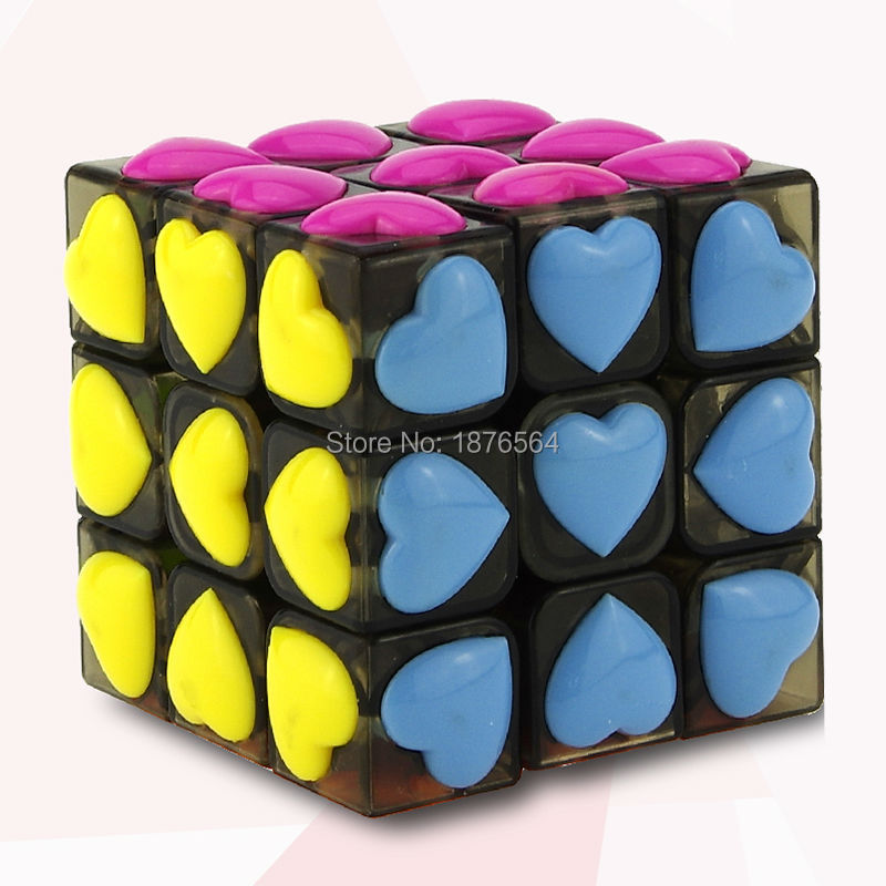 Pink Cute Magic Cube YongJun Puzzle 3X3X3 Love Cube As A Gift Send For Love Girl(China (Mainland))