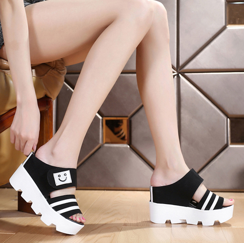 2015 women's shoes lounged smiley canvas slippers female summer fashion sandals wedges platform semi-drag sandals(China (Mainland))