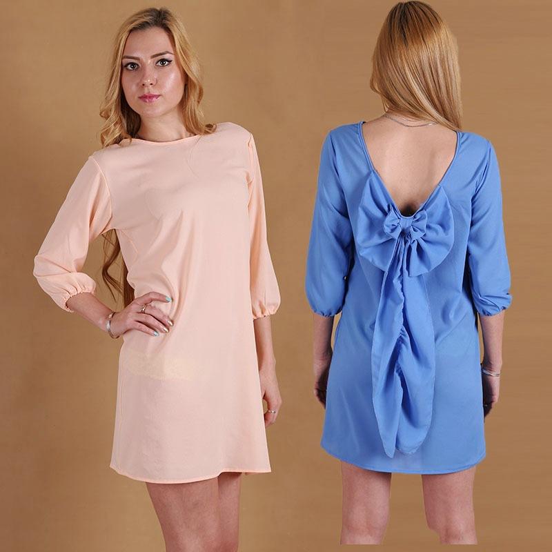 2015 ladies fashion leopard chiffon shirt bow wide truffle back dress - Sexy woman store
