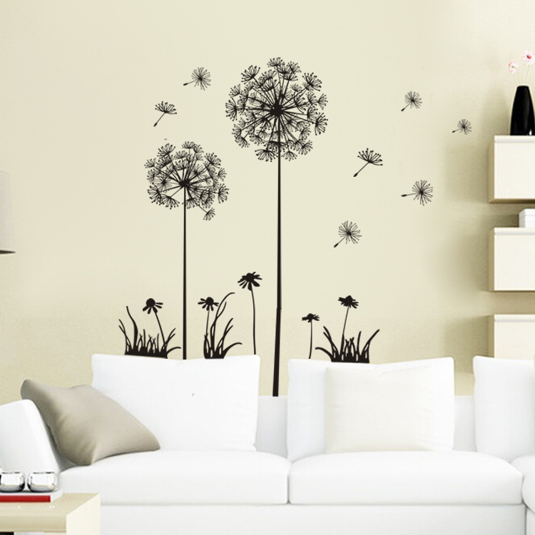 Flowers 3d wall sticker 2015 new dandelion classical wall for 3d wall decoration stickers