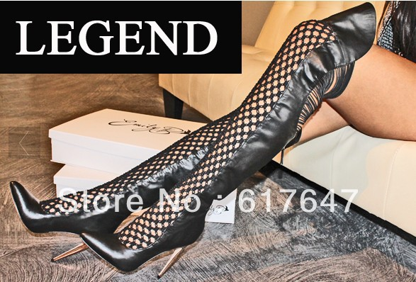 2014 Spring Newest Fashion Genuine Leather Knee Cut-out High Heel Boots Gladiator - Western Style Boutique store