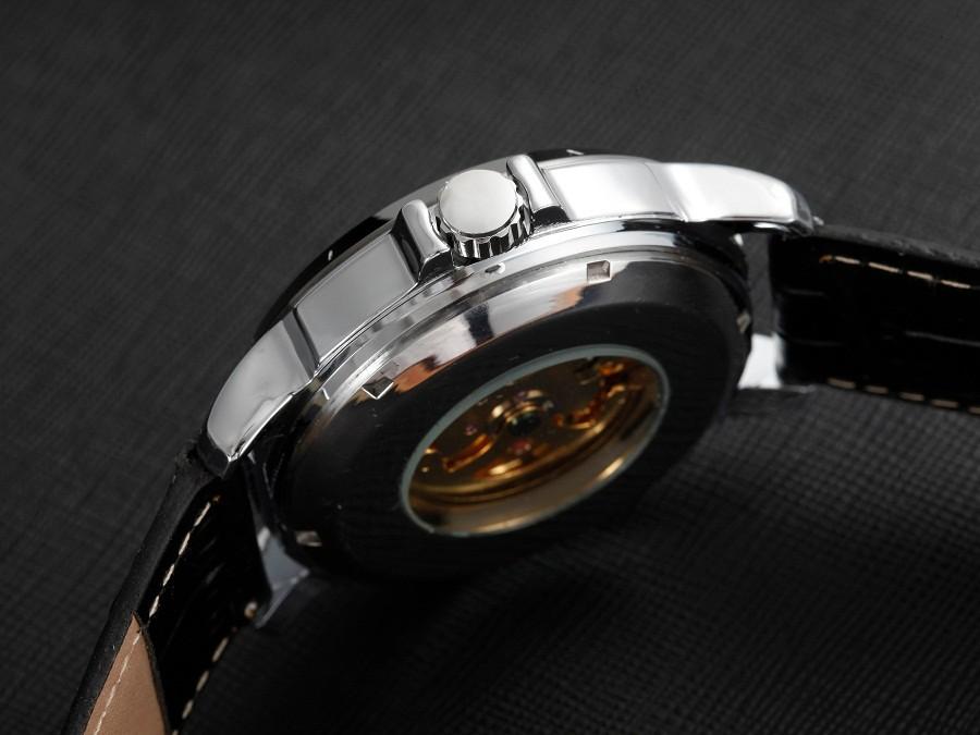 GOER марка мужская Скелет наручные часы Световой водонепроницаемый Машины полностью автоматическая Кожа мужчины спортивные Часы