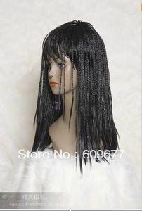 """new women""""s black Braid long straight full wig+gift(China (Mainland))"""