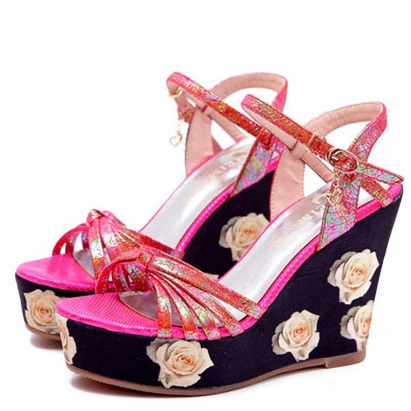 ENMAYER High Heels Wedges Sandals Summer Shoes New Platform Open Toe gladiator sandals women Rhinestone Summer Sandals for Women