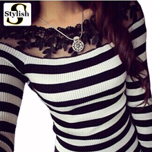 cotton black and white striped blouse Knitted women tops fashion 2015 lace floral embroidery shirts long sleeve knitwear 2016(China (Mainland))