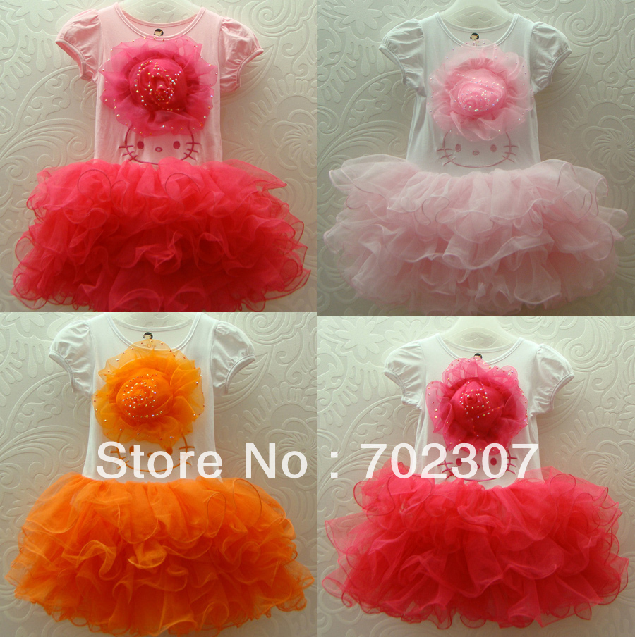 wholesale Free Shipping 2013 new hello kitty dress ,Girl tutu  Dresses, 5 pcs/lot 9803<br><br>Aliexpress