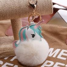 TOY106-1 Novo Mini Keychain Unicórnio Kawaii Cores Brinquedos de Pelúcia Animal Fluffy Pele Pom Pom Keychain Bag Pingente Presentes Brinquedos Infantis(China)