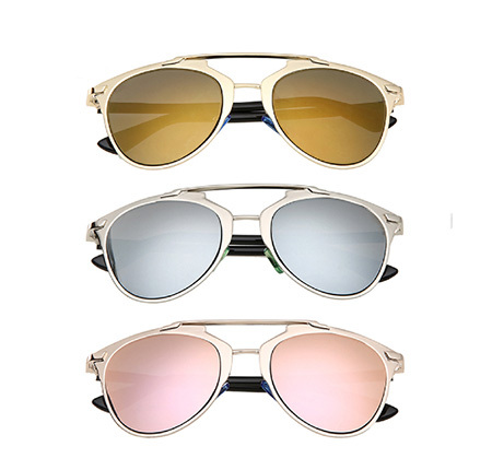 Metal Frame Reflected Sunglasses Women Brand Designer Vintage Cat Eye Sunglass men Glasses Rihanna lunettes de soleil de marque(China (Mainland))