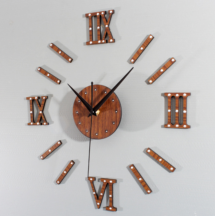 European style of the ancient noble metal solid rivets DIY clock wall clock mahogany Rome digital creative wood hanging(China (Mainland))