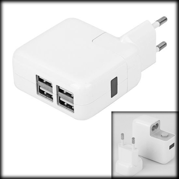 by DHL or EMS 50 pieces 4 Ports USB Wall Home Travel AC Power Charger Adapter For IPAD iPhone Samsung Amazon EU Plug(China (Mainland))