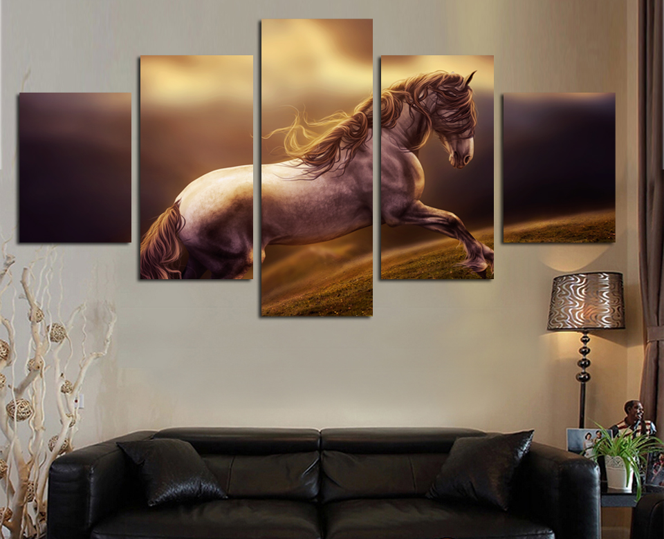 Wall Art Newest 5 Ppcs Onrushing Horse Painting Print On Canvas Wall Pictures Animals Photos Living Room Home Decor Unframed(China (Mainland))