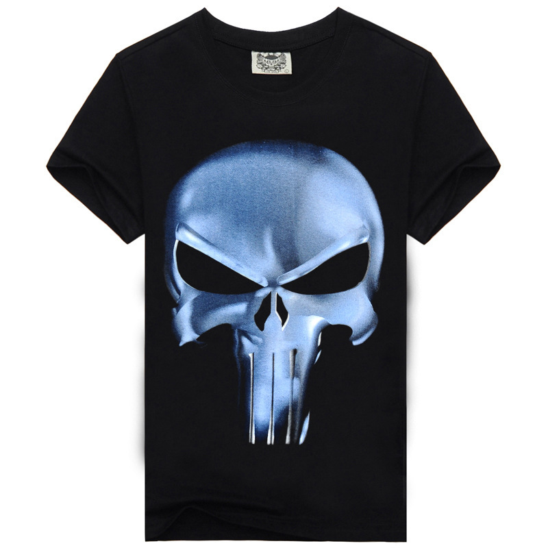 T Shirt Men Summer punisher Skull Head Grim 3D Printing heavy metal 100% Cotton tees for Men Casual Short Sleeves Brand Clothing(China (Mainland))
