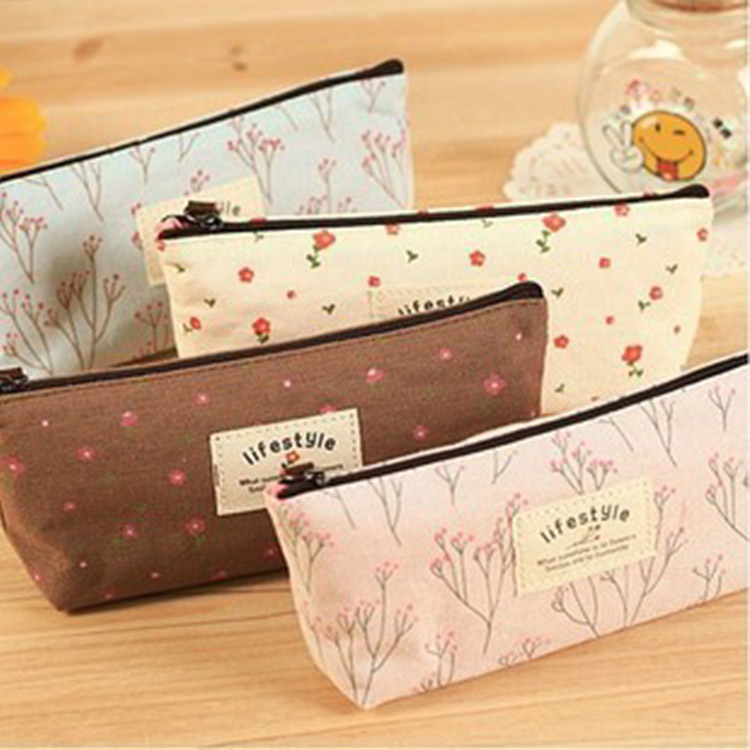1pc new floral cartoon pencil case school pencil cases for girl stationery large capacity pencil bag free shipping(China (Mainland))