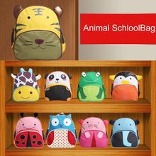 Children school bags 2015 wholesale  new  Cartoon  animal character canvas  Kindergarten Kids  Schoolbag  mochila infantil