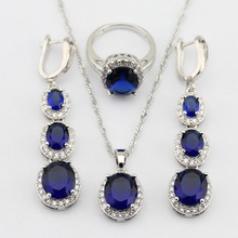 925 Sterling Silver Flawless Blue Sapphire Jewelry Sets For Women Long Earring Necklace Pendant Ring Free Gift Box JS67(China (Mainland))