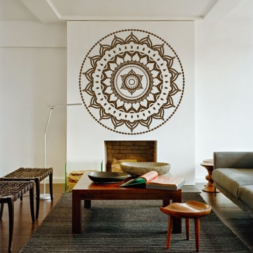 Free Shipping 60 x 60cm Yoga Mandala Om Indian Buddha Symbol Mehndi Wall Decal Home Decor Wall Sticker