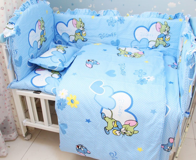 Promotion! 8pcs Mickey Mouse Kids Crib Sheet Crib Bedding Sets Baby Bed With Cheap (bumpers+sheet+pillow cover)<br><br>Aliexpress